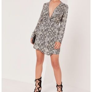 Silly plunge wrap dress, snake print
